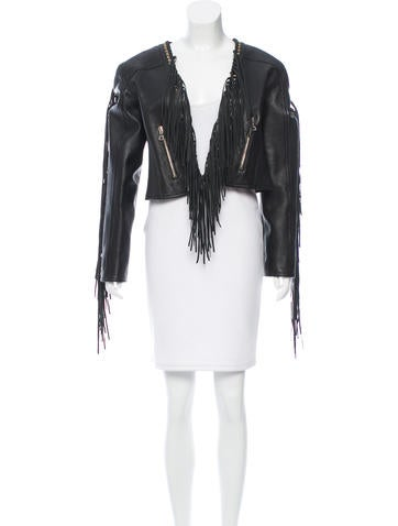 Fringe-Trimmed Leather Jacket