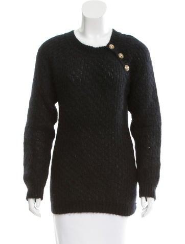 Balmain Mohair Button-Up Sweater None