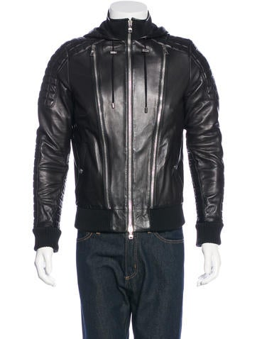 Balmain Hooded Leather Jacket w/ Tags None