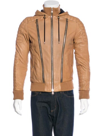 Balmain Hooded Leather Jacket None