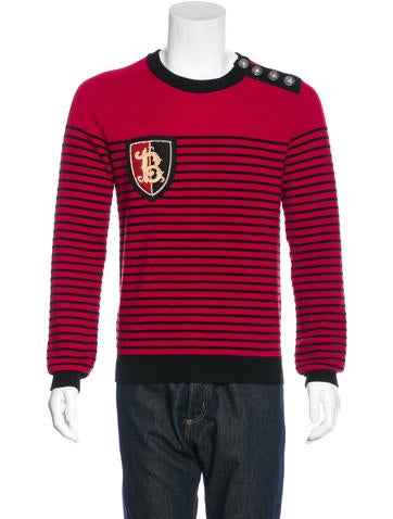 Balmain Wool Striped Appliqué Sweater w/ Tags None