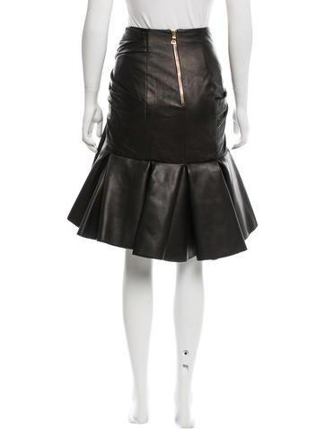 balmain leather high low skirt clothing bam23745 the