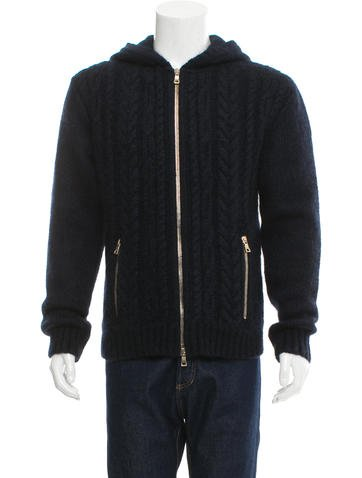 Balmain Cable-Knit Zip-Up Hoodie None