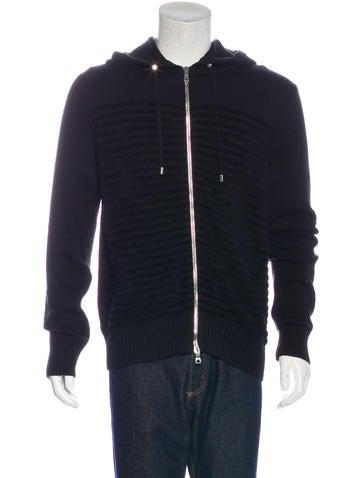 Balmain Striped Wool Hoodie w/ Tags None