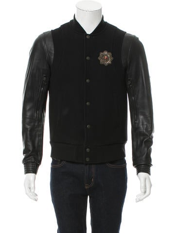 Balmain Leather-Trimmed Bomber Jacket None