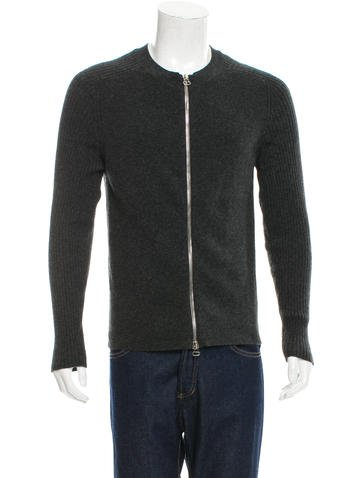 Balmain Rib Knit-Trimmed Zip-Up Sweater None