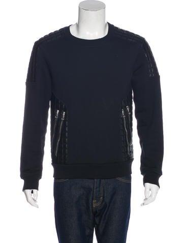 Balmain Lambskin-Trimmed Zip-Accented Sweatshirt None