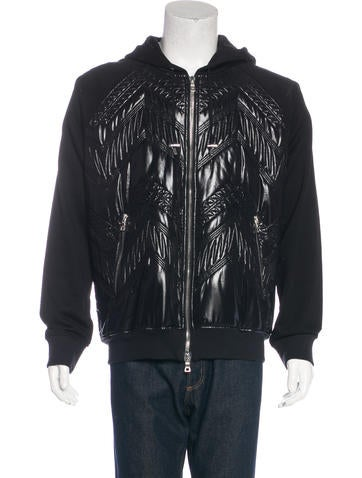 Balmain Quilted Woven-Paneled Hoodie None
