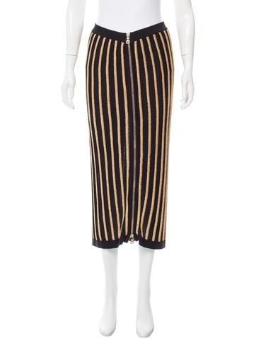 Balmain Striped Midi Skirt None