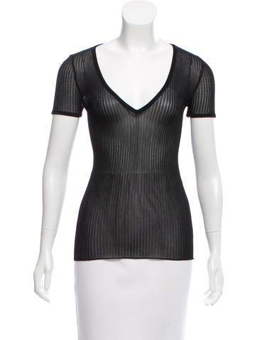 Balmain Semi-Sheer Short Sleeve Top None