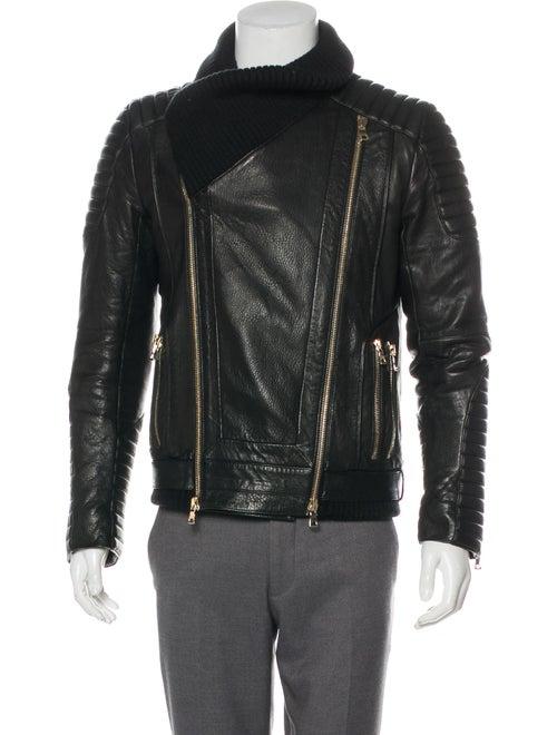 986e50477bcef Balmain Rib Knit-Trimmed Leather Biker Jacket - Clothing - BAM33356 ...