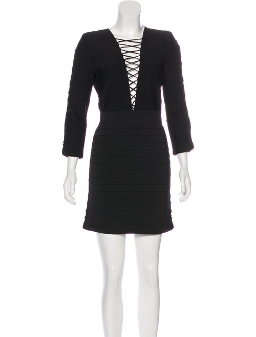 Balmain Lace-Up Bodycon Dress Black