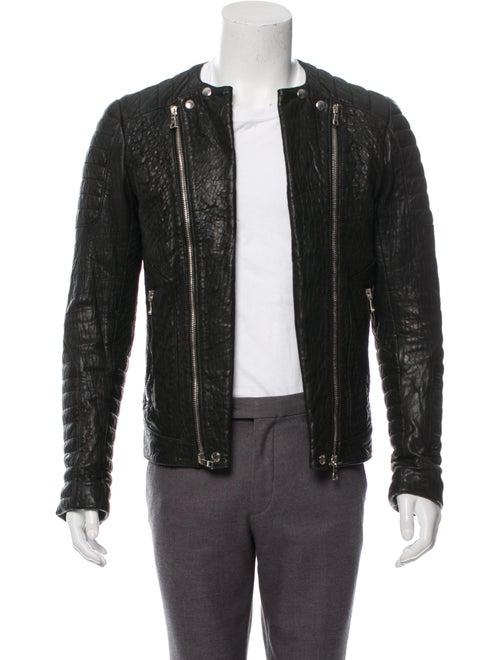 Balmain Leather Moto Jacket black