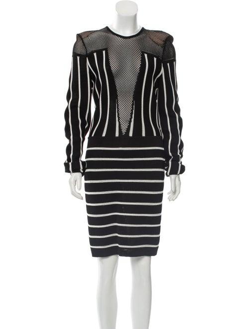 Balmain Striped Mesh Dress Black
