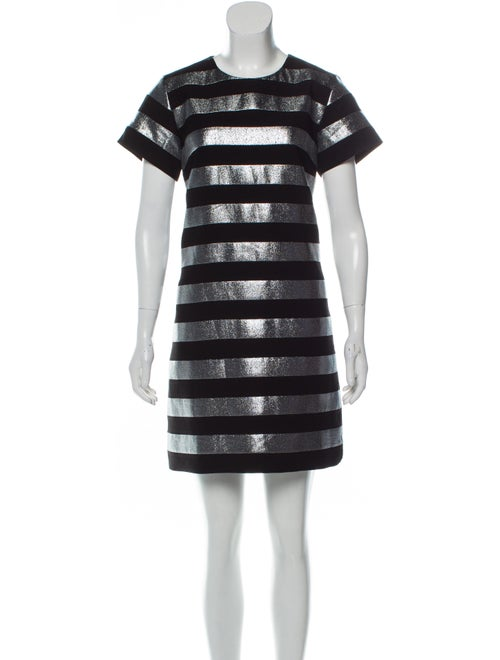 Balmain Metallic Striped Dress Metallic