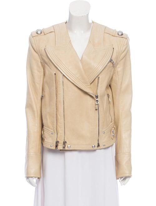 Balmain Moto Leather Jacket silver