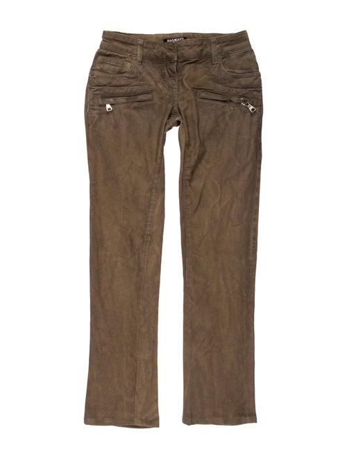 Balmain Low-Rise Straight-Leg Jeans Brown