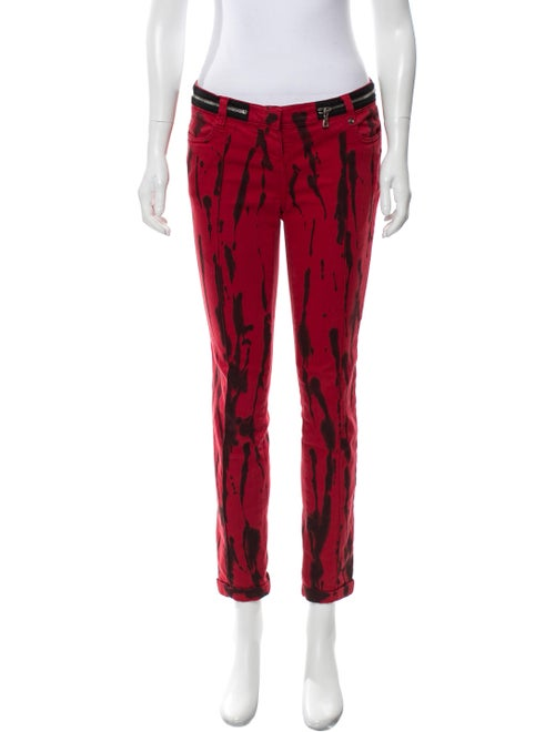 Balmain Printed Mid-Rise Jeans Red