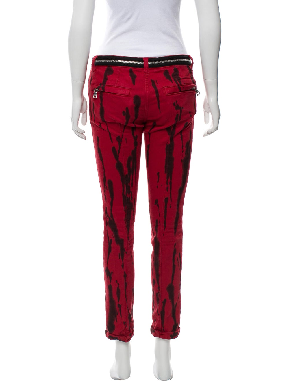 Balmain Printed Mid-Rise Jeans Red - image 3