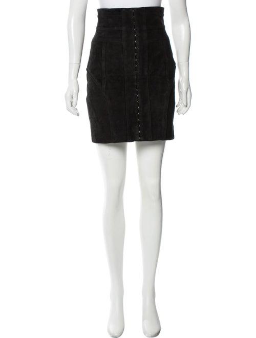 Balmain Suede Mini Skirt Black
