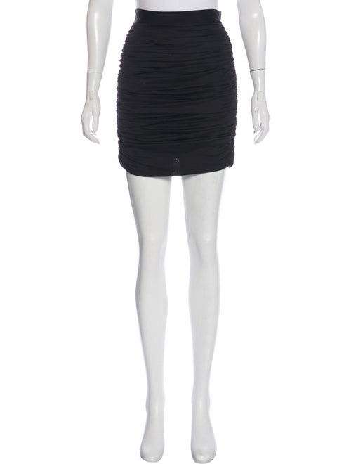 Balmain Ruched Satin Skirt Black