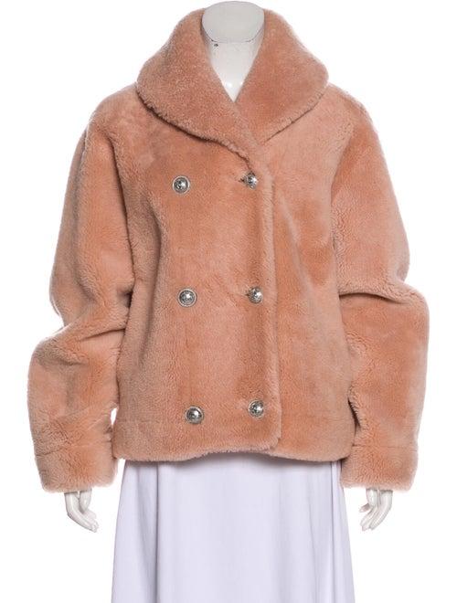 Balmain Shearling Button-Up Jacket Pink