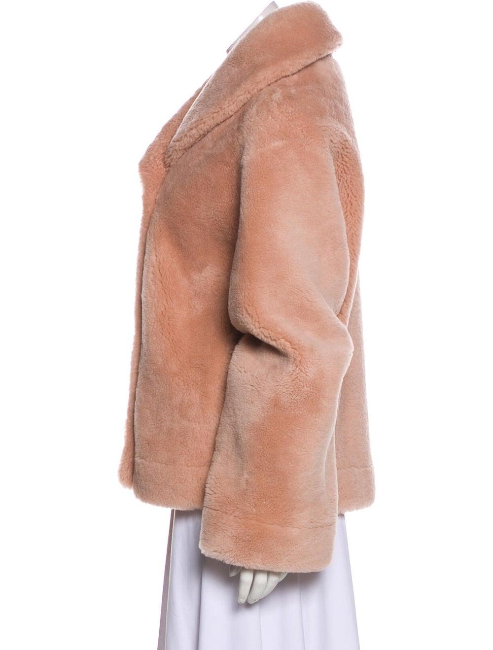 Balmain Shearling Button-Up Jacket Pink - image 2
