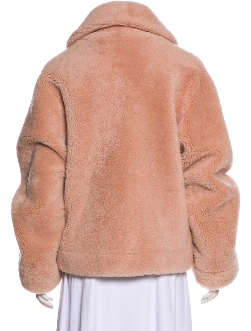 Balmain Shearling Button-Up Jacket Pink - image 3