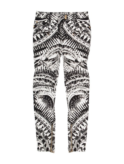 Balmain Printed Skinny Jeans White