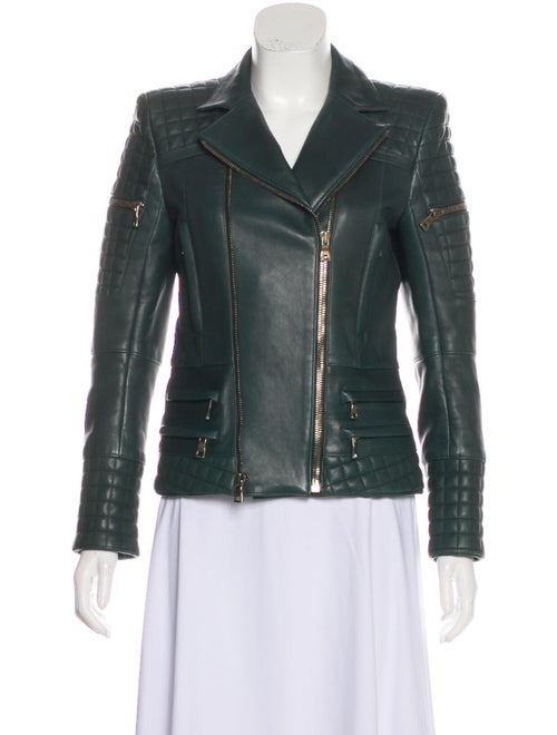Balmain Quilted Leather Jacket Green