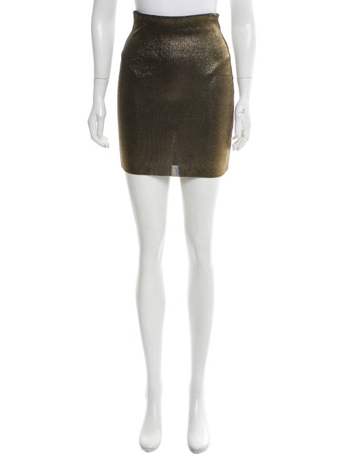 Balmain Metallic Mini Skirt Gold