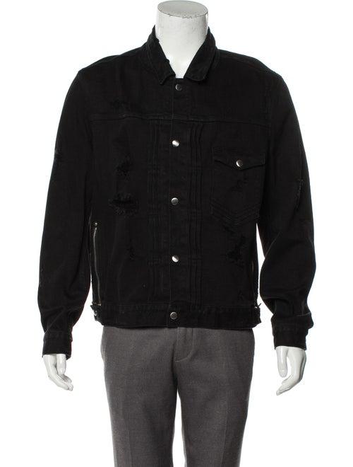 Balmain Distressed Denim Jacket black