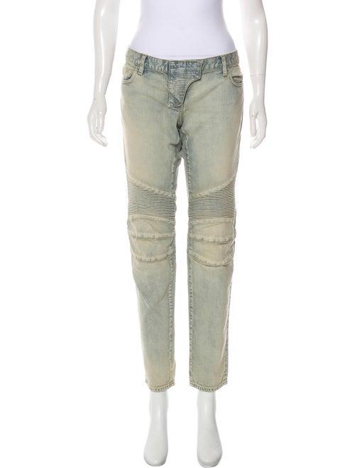 Balmain Low-Rise Straight-Leg Jeans blue
