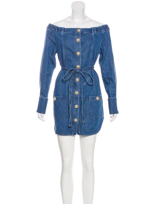 Balmain Denim Mini Dress blue