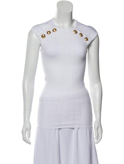 Balmain Knit Embellished Sweater White