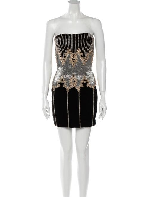 Balmain Velvet Embellished Dress Black