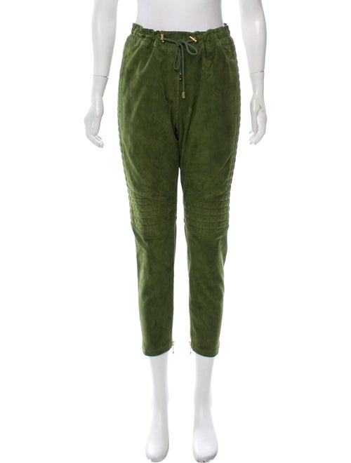 Balmain Suede Cropped Pants Green