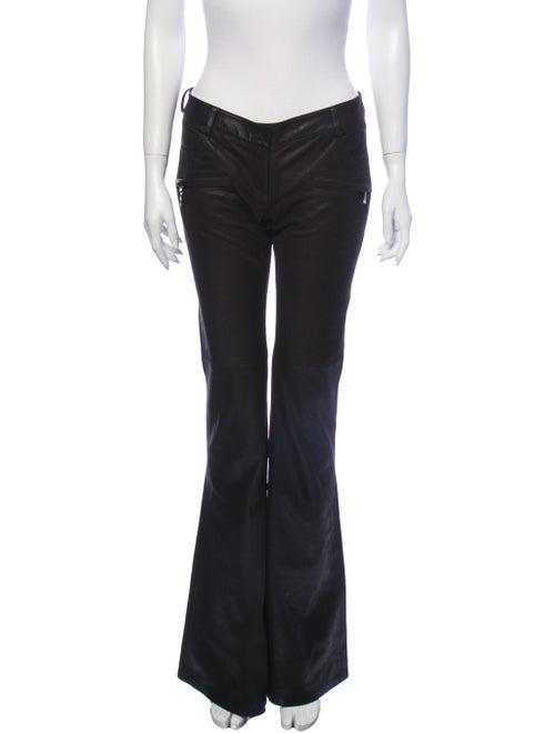 Balmain Leather Flared Pants Black