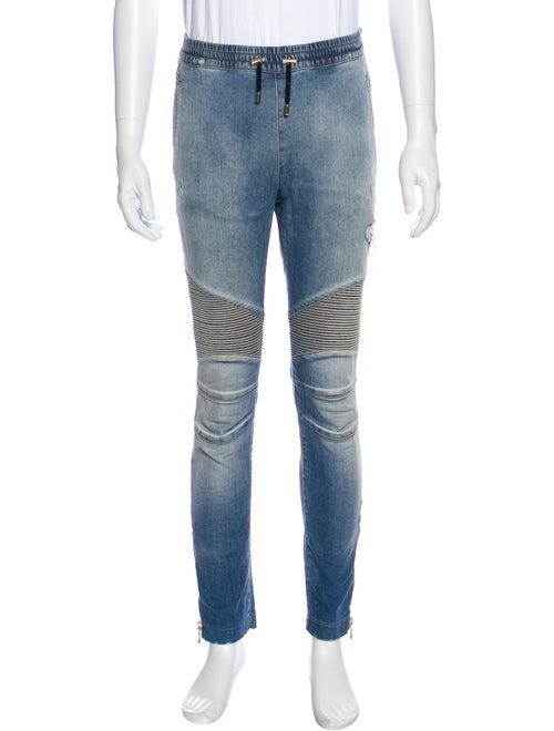 Balmain Moto Jeans Blue