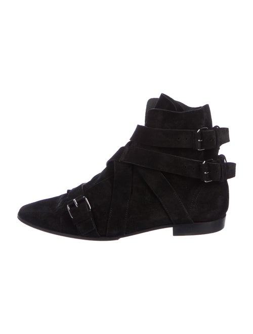 Balmain Suede Ankle Boots black