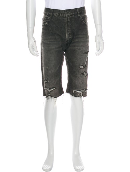 Balmain Distress Denim Shorts denim