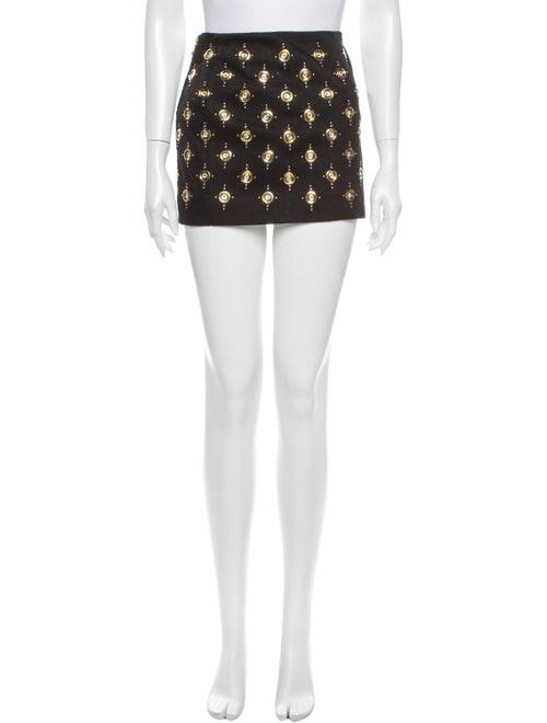 Balmain Printed Mini Skirt w/ Tags Black