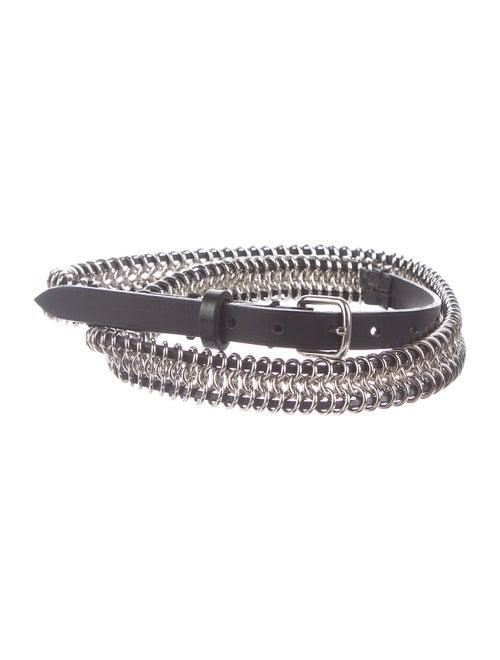 Balmain Chain-Link Leather Belt Black