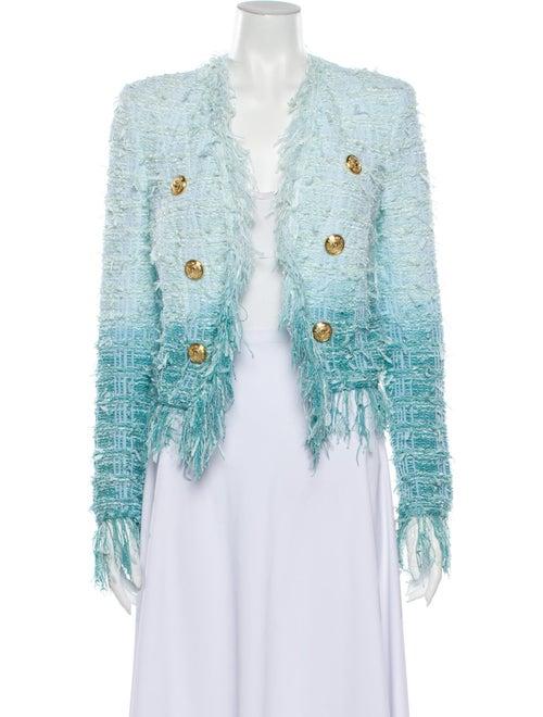 Balmain Tweed Pattern Blazer Blue