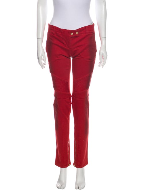 Balmain Low-Rise Straight Leg Jeans Red