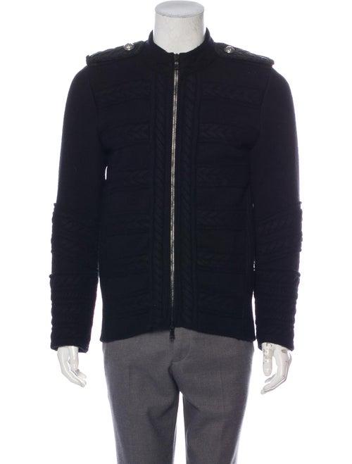 Balmain Chevron-Embellished Virgin Wool Sweater bl