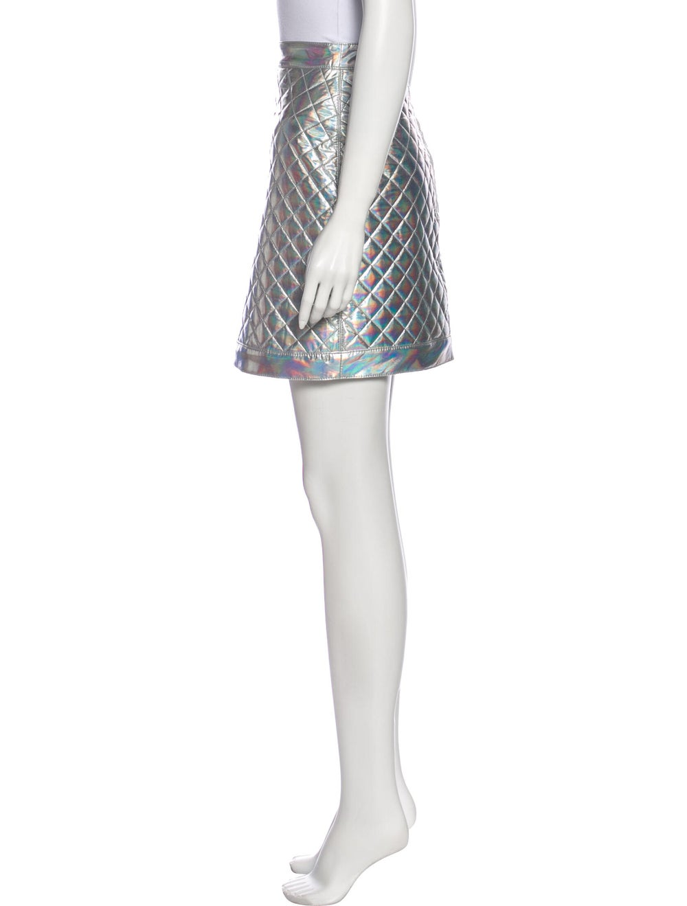 Balmain Printed Mini Skirt Metallic - image 2