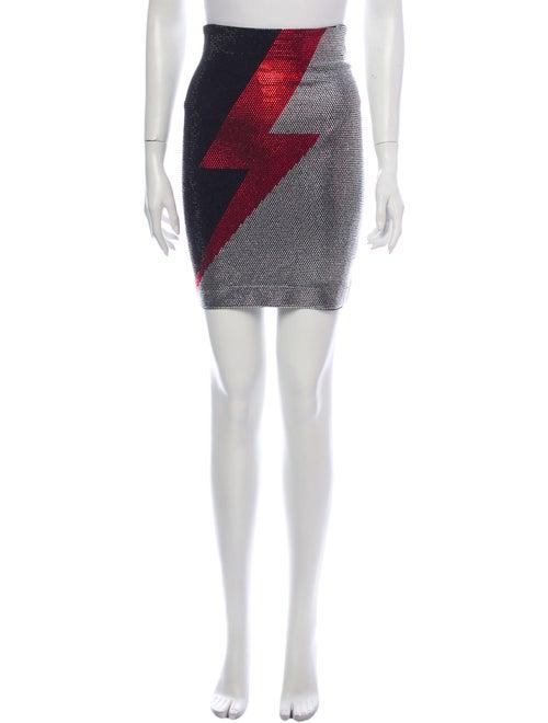 Balmain Printed Mini Skirt Black
