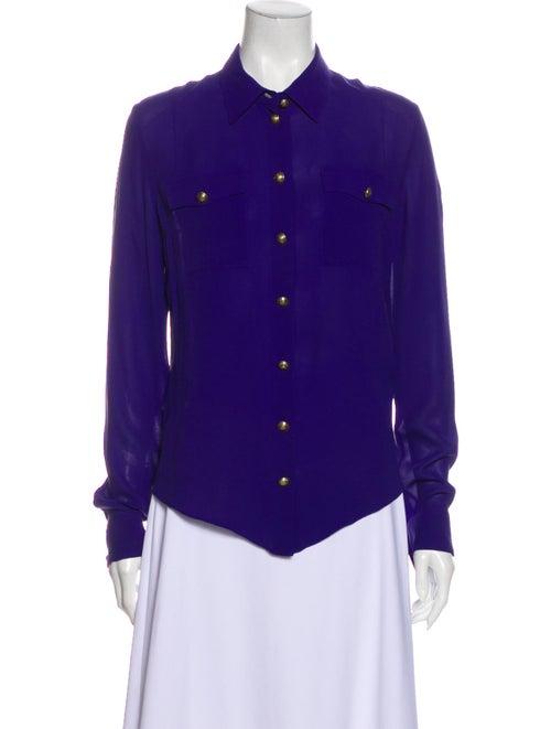 Balmain Silk Long Sleeve Button-Up Top Purple