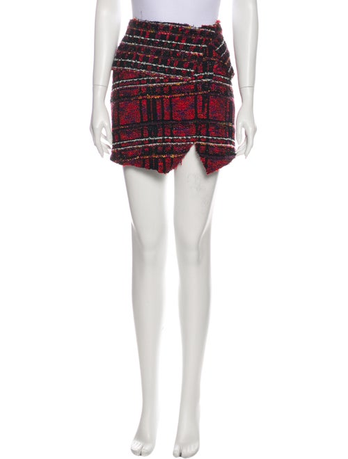 Balmain Plaid Print Mini Skirt Metallic
